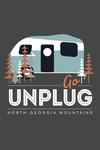 North Georgia Mountains - Go Unplug - Camper - Vector - Contour - Lantern Press Artwork