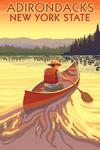 Adirondacks, New York - Canoe Scene - Lantern Press Artwork