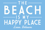 Lewes, Delaware - The Beach is My Happy Place - Simply Said - Lantern Press Artwork