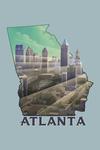 Atlanta, Georgia - Skyline - Lithograph - Contour - Lantern Press Artwork