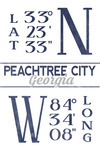 Peachtree City, Georgia - Latitude & Longitude (Blue) - Lantern Press Artwork