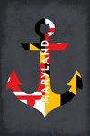 Maryland - Anchor & Flag - Contour - Lantern Press Artwork
