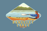 Rangley Lakes, Maine - Woman Kayaking - Contour - Lantern Press Artwork