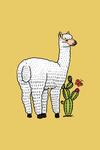 White Alpaca & Cactus - Vector Doodle - Contour - Artwork