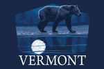 Vermont - Bear in Moonlight - Contour - Lantern Press Artwork