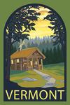 Vermont - Cabin in the Woods Scene - Contour - Lantern Press Artwork