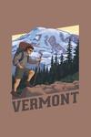 Vermont - Hiker & Mountain Scene - Contour - Lantern Press Artwork