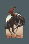 Wyoming - Cowboy & Bronco Scene - Contour - Lantern Press Artwork