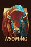 Wyoming - Bison - Vivid - Contour - Lantern Press Artwork