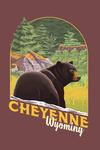 Cheyenne, Wyoming - Bear in Forest - Contour - Lantern Press Artwork