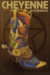 Cheyenne, Wyoming - Boot & Star - Lantern Press Artwork