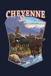 Cheyenne, Wyoming - Cowboy Cattle Drive Scene - Contour - Lantern Press Artwork