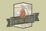 Camping Rules - Typography - Contour - Lantern Press Artwork