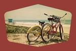Bicycles & Beach Scene - Contour - Lantern Press Photography