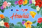 Hawaii - Tropical Palm Fronds Wreath & Islands - Lantern Press Artwork