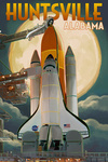 Huntsville, Alabama - Space Shuttle & Full Moon - Lantern Press Artwork