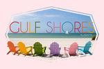 Gulf Shores, Alabama - Colorful Beach Chairs - Contour - Lantern Press Photography