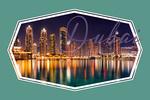 Dubai, United Arab Emirates - City Skyline at Night - Contour - Lantern Press Photography