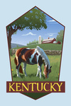 Kentucky - Horse in Field - Contour - Lantern Press Artwork