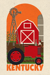 Kentucky - Country Woodblock - Contour - Lantern Press Artwork
