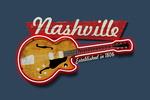 Nashville, Tennessee - Vintage Guitar Sign - Contour - Lantern Press Artwork