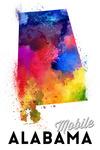 Mobile, Alabama - State Abstract Watercolor - Lantern Press Artwork