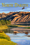 North Dakota - Bison Crossing River - Lantern Press Artwork