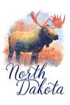North Dakota - Moose - Watercolor - Lantern Press Artwork