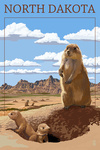 North Dakota - Prairie Dogs - Lantern Press Artwork