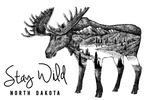 North Dakota - Stay Wild - Moose & Mountains - Double Exposure - Lantern Press Artwork