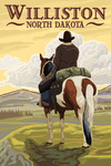 Williston, North Dakota -  Cowboy on Ridge - Lantern Press Artwork
