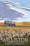 Williston, North Dakota - Wheat Field & Shack - Lantern Press Artwork