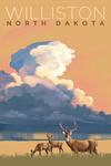 Williston, North Dakota - White-tailed Deer & Rain Cloud - Lithograph - Lantern Press Artwork