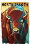 North Dakota - Bison - Vivid - Lantern Press Artwork