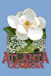 Atlanta, Georgia - Single White Magnolia - Contour - Lantern Press Artwork