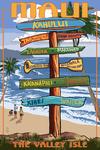 Maui, Hawaii - Destination Signpost - Lantern Press Artwork