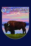 Oklahoma - Buffalo & Sunset - Contour - Lantern Press Artwork