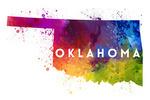 Oklahoma - State Abstract Watercolor - Contour - Lantern Press Artwork