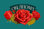 Oklahoma - Rose - Letterpress - Contour - Lantern Press Artwork