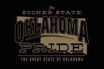 Oklahoma - State Pride - Gold on Black - Contour - Lantern Press Artwork