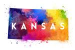 Kansas - State Abstract - Contour - Lantern Press Artwork