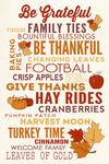 Thanksgiving - Be Grateful - Typography - Lantern Press Artwork