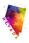 Nevada - State Abstract Watercolor - Lantern Press Artwork