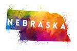 Nebraska - State Abstract Watercolor - Contour - Lantern Press Artwork
