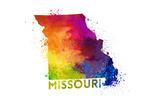 Missouri - State Abstract Watercolor - Contour - Lantern Press Artwork