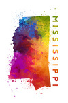Mississippi - State Abstract Watercolor - Contour - Lantern Press Artwork