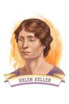 19th Amendment Centennial Art - Helen Keller - Contour - Lantern Press Artwork