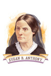 19th Amendment Centennial Art - Susan B Anthony - Contour - Lantern Press Artwork