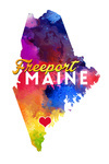 Freeport, Maine - State Abstract Watercolor - Contour - Lantern Press Artwork