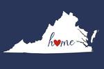 Virginia - Home State - White on Blue - Lantern Press Artwork